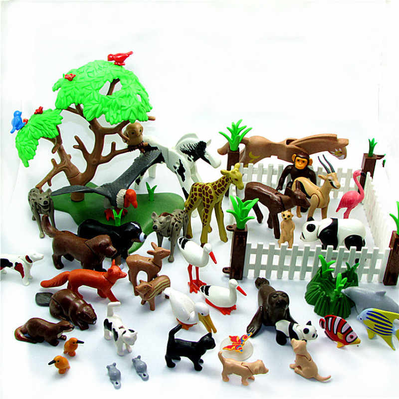 1 Piece Playmobil Animal Model Bear Cat Panda Dog Horse Animal Figures Small Action Figure kids Educational Toys for Children