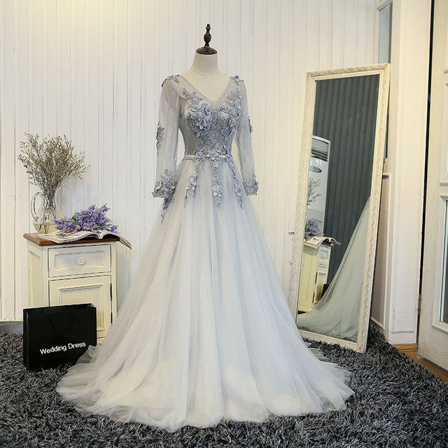Brautjungfernkleid 2019 new sexy v neck lace decals beaded long sleeve a  line silver bridesmaid dresses long real photos db6378daa207