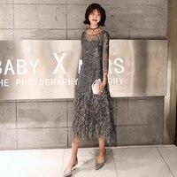Вечерние платья с пайетками вышивка Банкетный элегантное вечернее платье Очаровательная кисточка вечернее платье 2019 Robe De mariée