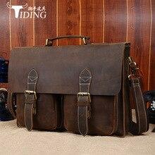Genuine Leather TIDING Luxury Men Messenger Bag Handbags Briefcase Shoulder Bag Cowhide Leather Business Laptop Crossbody Bag