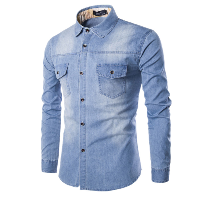 962e25dd352 Detail Feedback Questions about High quality men s Slim denim shirts new  plus size M 6XL fashion casual wash blue long sleeved Cargo jeans shirts  Chemise ...