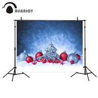 Allenjoy Red Silver Balls Metal Christmas Tree Bokeh Background Snow For Photo Christmas Decorations For Home