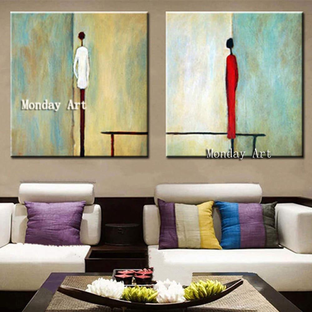 Aritist Hand painted Large 2 Panel Acrylic Painting Abstract Man Woman Figure Oil Paintings on Canvas Modern figure oil painting