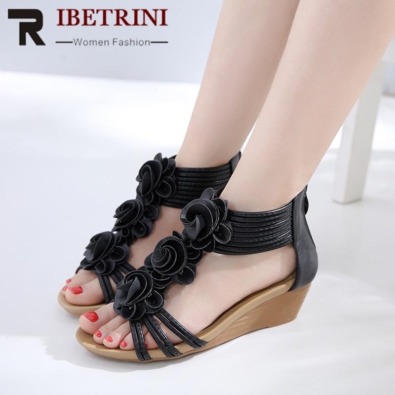 D'été noir Chaussures Sandales Loisirs Ribetrini Apricot Fleur Femme Coins Talons Femmes Douce Nouveau Mode 8nPwk0O