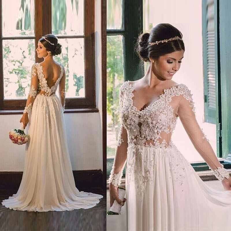 new design a line chiffon wedding dresses 2016 v neck beaded backless sexy vintage