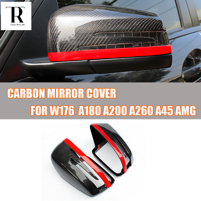 W176 Carbon Fiber Replaced Style Rear View Side Mirror Cover Cap for Mercedes Benz W176 A-CLASS A180 A200 A260 2013 2014 2015