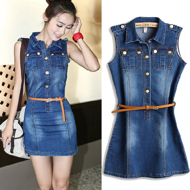 denim slim single breasted waist pack one piece dress