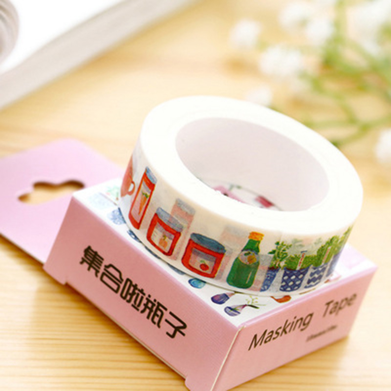 1 Pcs 10m Show Bottle Washi Tape Lot Masking Tape Post It Japanese Stationery School Supplies