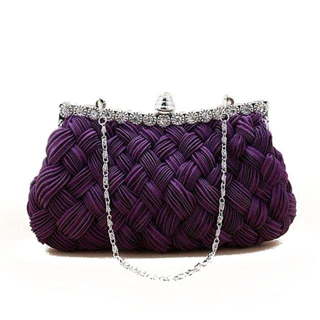 Vintage Weave Evening Bag Woman Silk Elegant Day Clutch Ladies Dinner Handbag  Socialite Wedding Party Hand Bags bolso XA291H