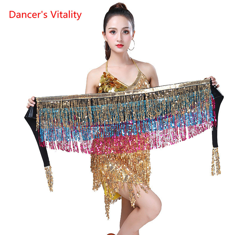 15 Colors Belly Dancing Women's Clothing Belt Accessories Belts 4 Straps Rows Of Belly Dance Hip Scarf Sequin Belt Rectangle