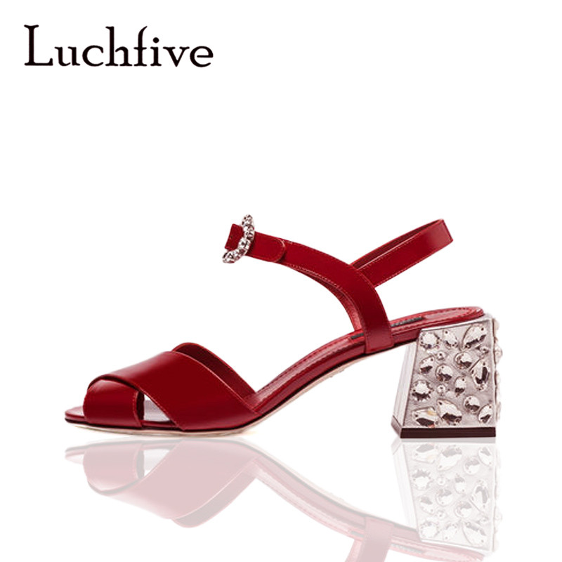 Fashion geninue leather women sandals rhinestone ankle buckle strap chunky high heels peep toe summer black red sandalias mujer loslandifen new ankle strap women sandals casual patent leather red high heels shoes open toe lady summer sandal mujer sandalias