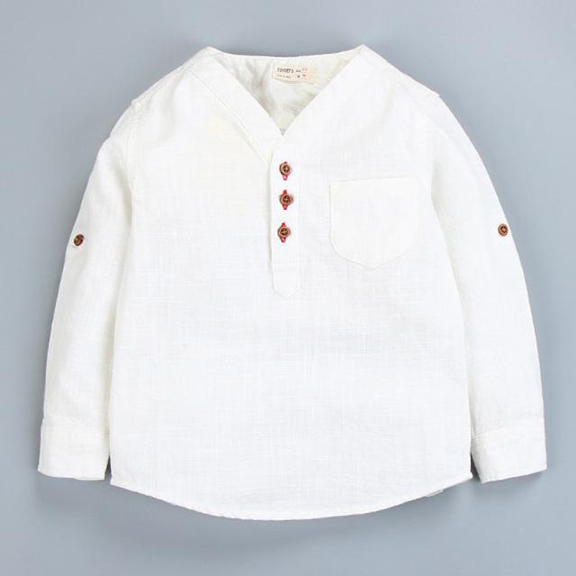 Camisas dos miúdos Do Bebê 2017 Menino Luva Cheia Tops Camisas para meninos Dos Miúdos Das Crianças das Crianças Casuais Blusa De linho de Algodão