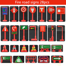 Traffic light Signs Model Toy 28pcs lot DIY Mini Signpost Traffic Scene Educational Toys Cheap Car