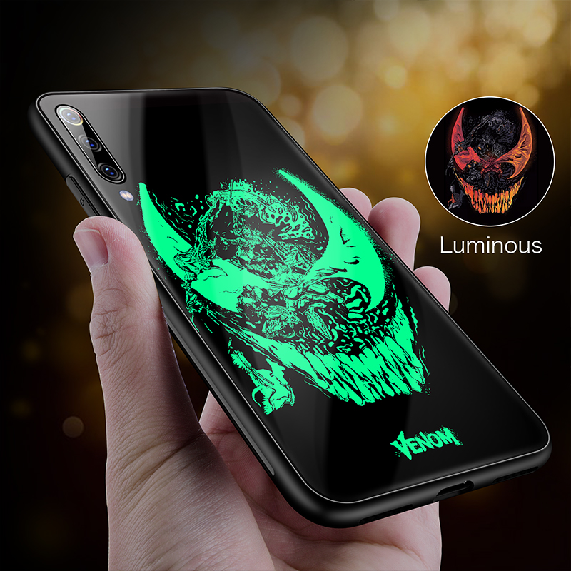 Image 3 - Marvel Iron Man Venom Luminous Glass Phone Case For Xiaomi Mi 8 9 SE F1 Lite Redmi Note 4 5 6 7 8 Pro Plus Captain America Cover-in Fitted Cases from Cellphones & Telecommunications