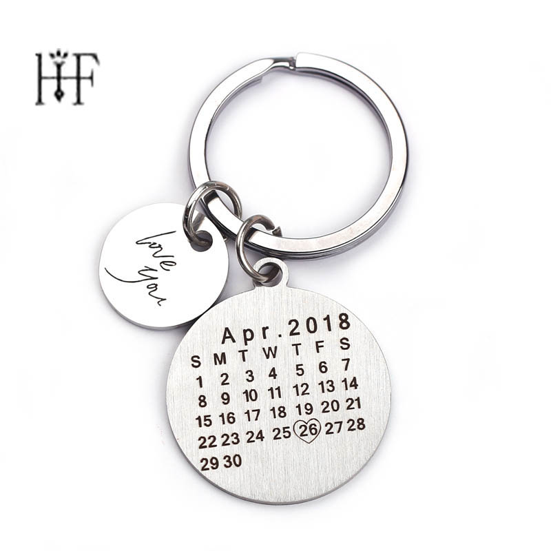 New Drop Shipping Custom Fashion Keyring Keychain Calendar Llaveros Couple Key Chain Boyfriend Girlfriend Jewelry Lover Gift