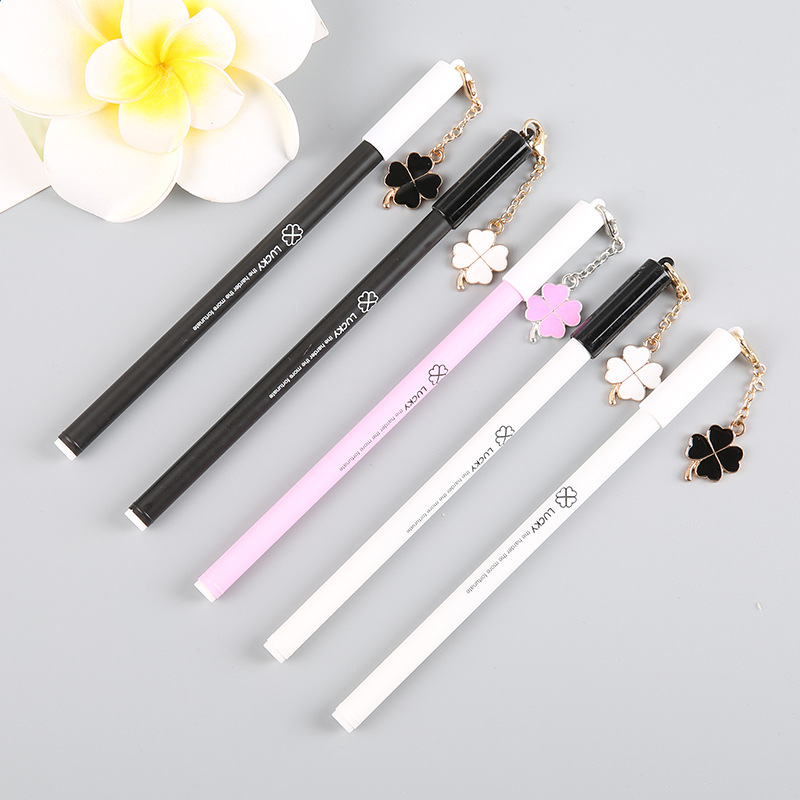 5pcs/lot Cute Metal Chain Lucky Clover Tower Gel Pen Stationery School Office Supply Writing Signing Pen Kids Student Gift dairy supply chain management