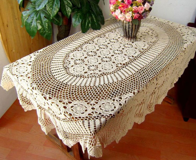 size:67x102 Inches,Beige,OVAL Handmade Crochet Tablecloth-in ...
