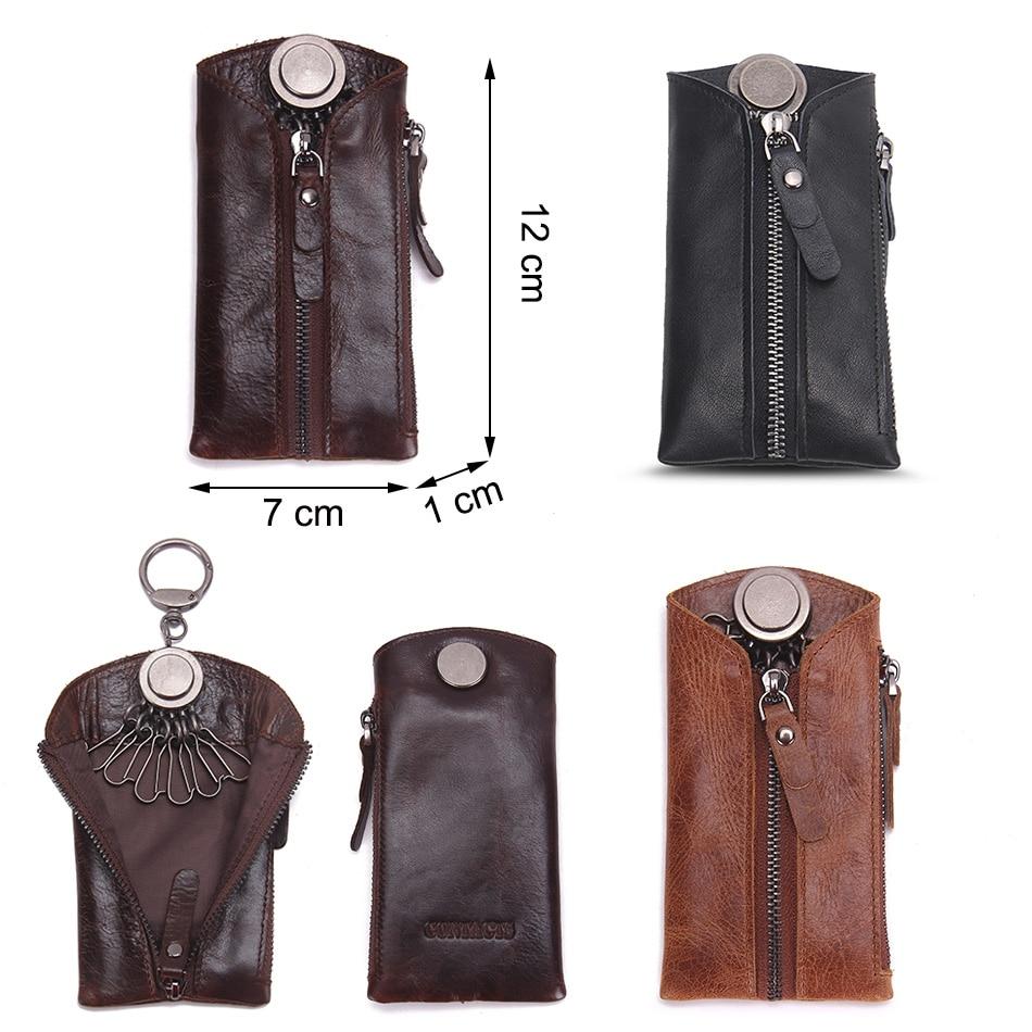 Image 5 - CONTACTS 100% Genuine Leather Key Wallet Men Car Key Holder Zipper Keys Case Top Quality Male Man Housekeeper Keys OrganizerKey Wallets   -
