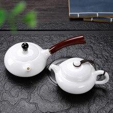 Dehua suet нефрит белый фарфор китайский бытовой твердой древесины сбоку чайник ручной работы здоровье