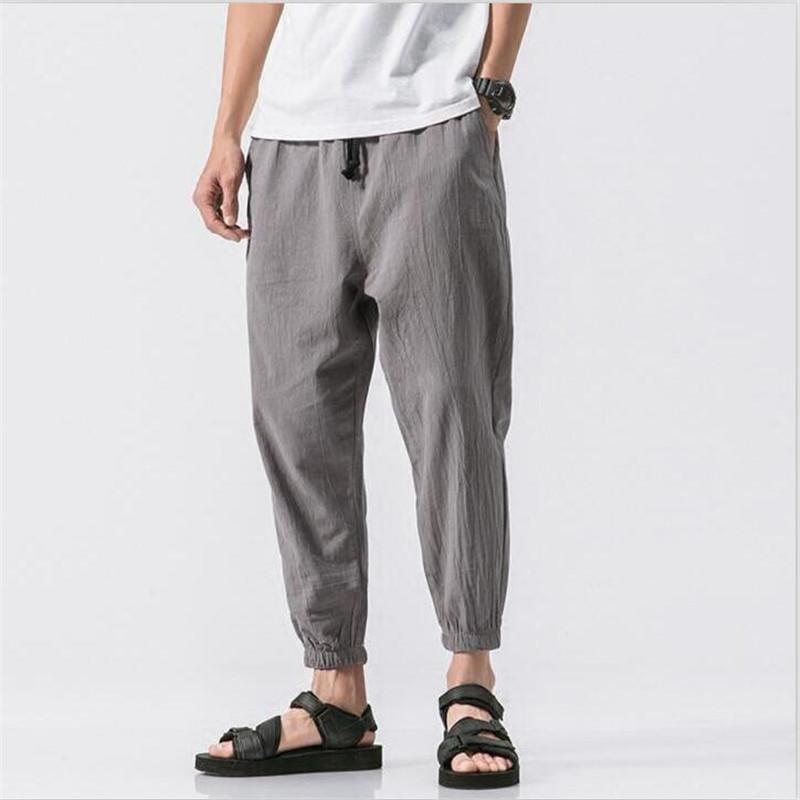 Ankle-Length Pants Casual Trousers Linen Loose Plus-Size 7-Color Summer Cotton Solid