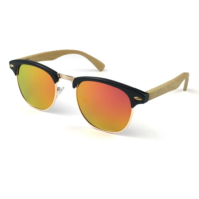 6e0934137c50 Free Shipping 4Colors Classical Half PC Frame with Bamboo Temple Eyewear  and Polarized Lens Spring hinges