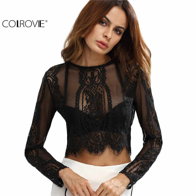 COLROVIE Lace See-through Crop Shirt Vrouwen Blouse Herfst Ronde Hals Lange Mouw Sexy Dames Tops Rits Terug Blouse