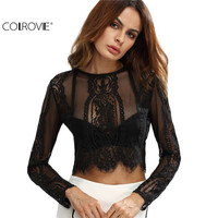 COLROVE Black Lace See Through Crop Shirt Women Summer Round Neck Long Sleeve Sexy Tops Zipper