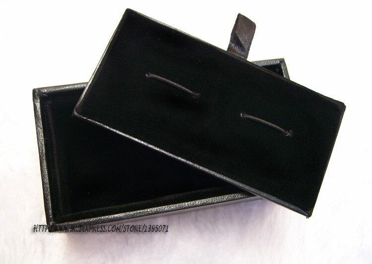 Wholesale 100pcs lot Black Cufflink Box Cufflink Gift Case Holder Jewelry Packaging Boxes Organizer Black