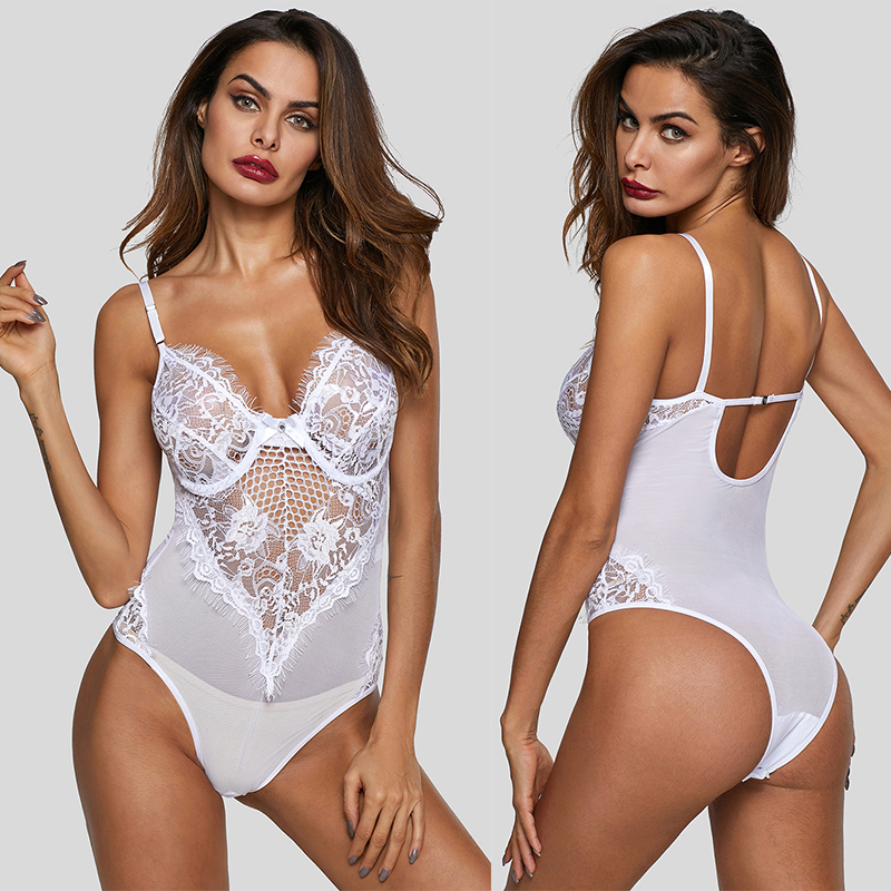 LIVA GIRL Sexy Black Sheer Mesh Lace Bodysuit Women Backless Cupped Bodycon Rompers 2019 Mujer White Jumpsuits Macacao Feminino in Bodysuits from Women 39 s Clothing