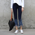 Ankle Length Dark Blue Jeans Vintage Slit Leg Opening Tassels Denim Jeans Women Fashion Flare Pants Gradient Colors Spring Pants