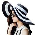 Clásico de Rayas de Verano Sombreros de Sun para Las Mujeres Playa de la Paja Sombrero de Panamá tapas de protección uv de ala ancha de paja femenina ZXM-JY-141