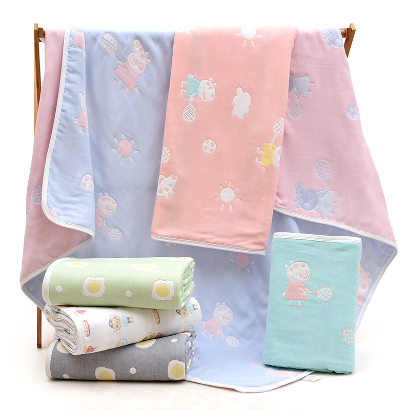 6 Layers Muslin Cotton Baby Towel Newborn Soft Baby Swaddle Summer Blanket For  Crib Stroller Car Aircraft 110cmX110cm(43