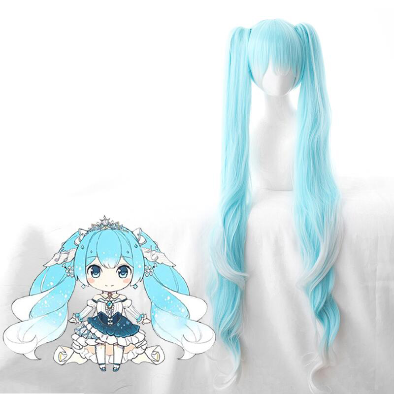 Vocaloid Hatsune Snow Miku Cosplay Wig Gradient Blue 120cm Long Wavy Synthetic Hair With Chip Ponytails + Wig Cap