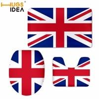 HUGSIDEA 3PCS USA/UK Flag Bath Mat Flannel Absorbent Non Slip Doormat Soft Bathroom Toilet Seat Cover Warmer Closestool Pad Mat
