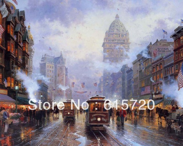Thomas Kinkade Original Landscape Oil Painting ( Cities San Francisco  Market Street ) HD Giclee Art