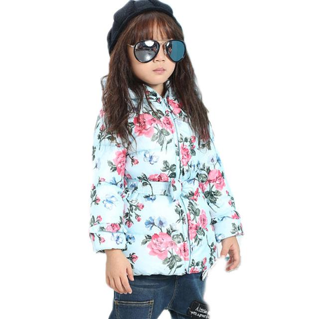 2016 meninas do bebê roupas meninas casacos de inverno e casacos de flores impresso bonito crianças trench coat com cinto arco meninas outwear casacos