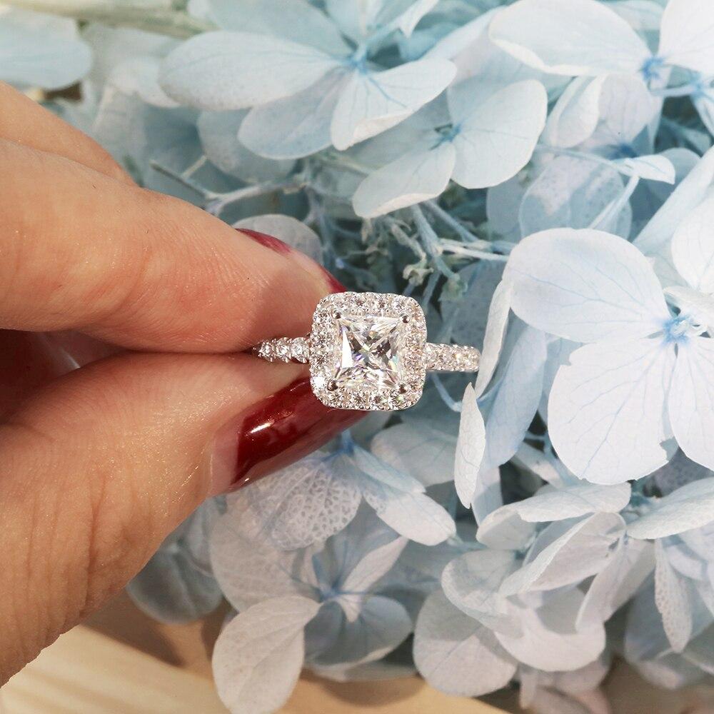 5mm 1ctw Carat elegancki DEF kolor księżniczka Halo pierścionek zaręczynowy ślub Moissanite pierścionek z brylantem dla kobiet w srebrny lub biały złoty w Pierścionki od Biżuteria i akcesoria na  Grupa 3