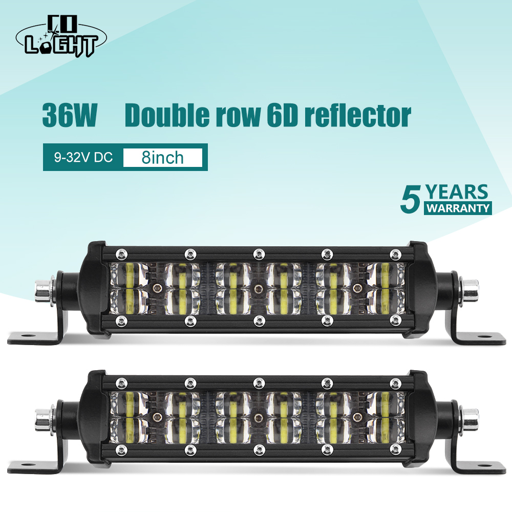 цена CO LIGHT 36W 8 inch 6D Led Work Light 12V Slim Combo Beam 2-Rows for Auto Driving ATV Truck Boat 4WD 4x4 Offroad Led Bar Lights онлайн в 2017 году