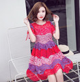 Fashion Cheap Clothes China Women Dress Print Bohemian Beach Saias Femininas Casual Female Vestidos Summer Dress Patch Color