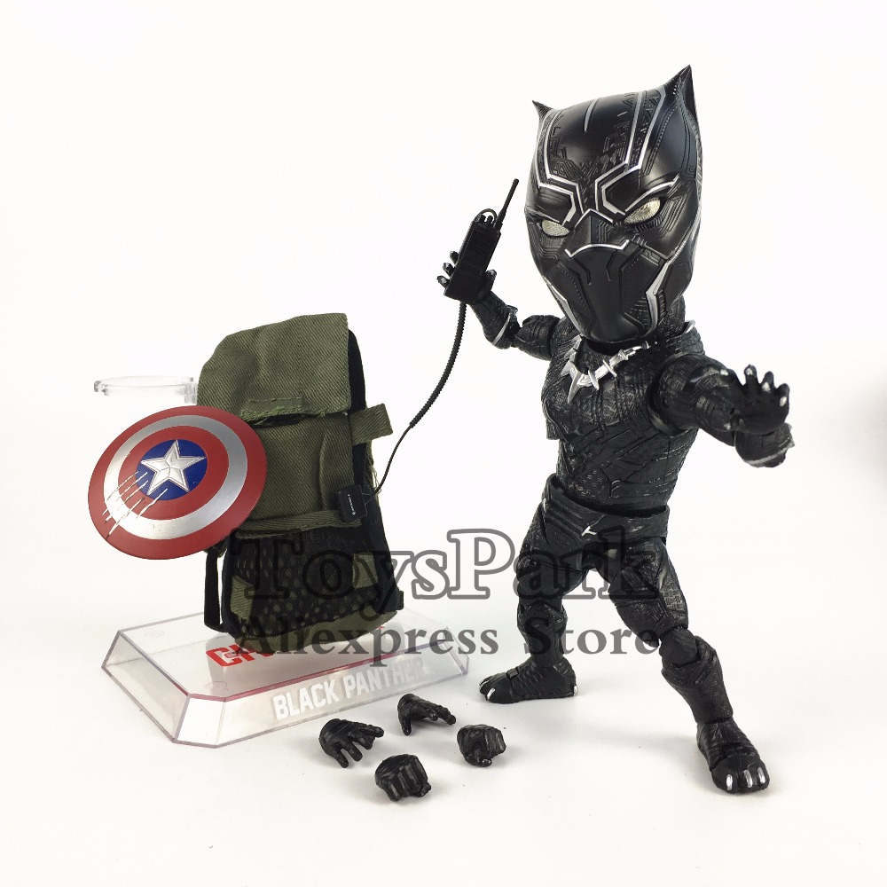 купить ToysPark Marvel Beast Kingdom Black Panther Cute Q 18cm Action Figure Egg Attack EAA 033 Captain America Civil War Doll Toy Gift по цене 1836.92 рублей