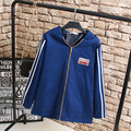 Women Jackets Plus Size 3XL Casual Character Patch Designs Loose Striped Hooded Jacket Outerwear Blue Red Khaki KK2293