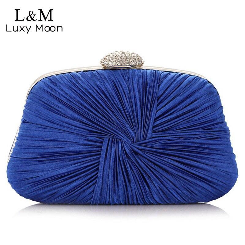 Mujeres Plisado de Tarde Del Bolso de Mano Azul Vestido de Cristal Bolsos de Emb