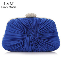 Women Pleated Evening Hand Bag Blue Crystal Dressed Clutch Bags Wedding Party Chain Purse Small Handbag Mini Day Clutches XA834H