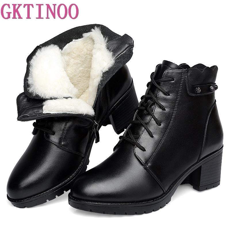 GKTINOO Comfortable Soft Genuine Leather Winter Boots 2018 Fashion Women Ankle Boots Casual High Heels Shoes Female Snow BootsGKTINOO Comfortable Soft Genuine Leather Winter Boots 2018 Fashion Women Ankle Boots Casual High Heels Shoes Female Snow Boots