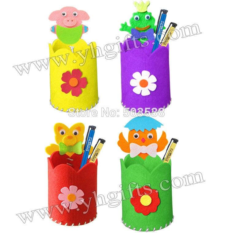 50pcs Lot Diy New Animal Fabric Pen Holders Craft Kits Kindergarten