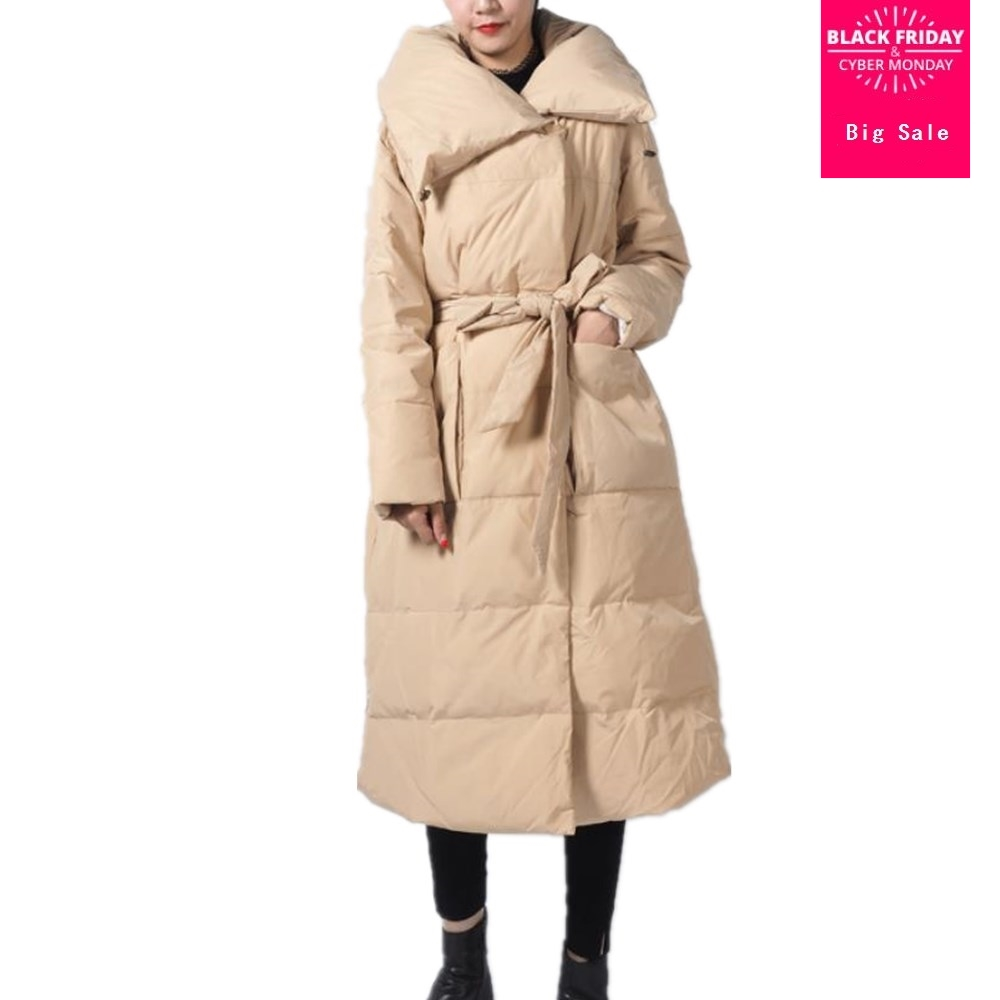 Winter fashion brand good quality over the knee longer duck   down     coat   female plus size thicker hooded warm   down     coats   wq525