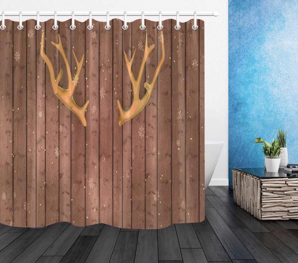 Chifres de rena & Elk Antler em placa de madeira Rústica do vintage Tecido de Poliéster Cortina de Chuveiro Do Banheiro À Prova D' Água para a Banheira Decoração
