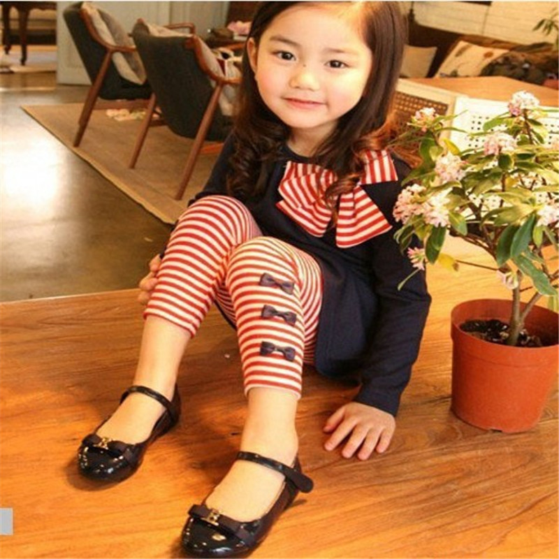 New Kids Girls Bow Striped Leggings Suit Long Sleeve Shirts Tops Sets Size 3-8 Y