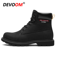 Brand Genuine Leather Boots Men Black Boots Fashion Mens Snow Boots Outdoor Dr Waterproof Martins Work Winter Shoes Men Size 45