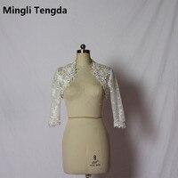 2017 Discount Ivory/White Lace Jacket Bridal Wedding Shawl Applique Bead Bridal Shrug Wrap Bolero Custom Made Wedding Accessory